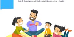 Ilustração de uma família a brincar